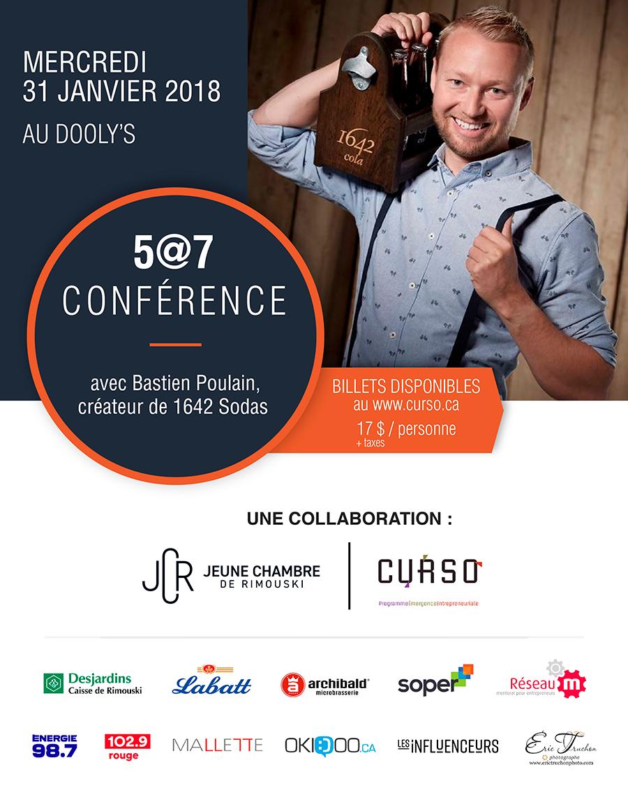 5 a 7 conférence avec Bastien Poulain - 1642 Sodas